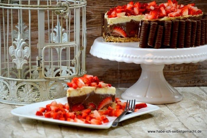 Anschnitte No Bake Erdbeer Schokoladen Torte