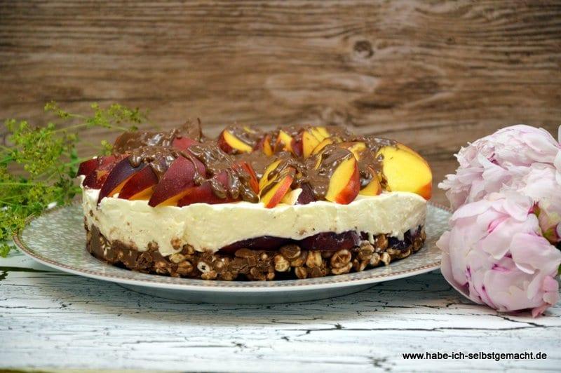 Torte mit Nektarinen Joghurt und Schokolade- ohne backen