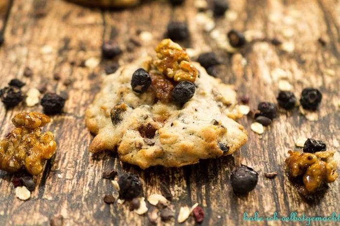 vegane Blaubeer Walnuss Cookies