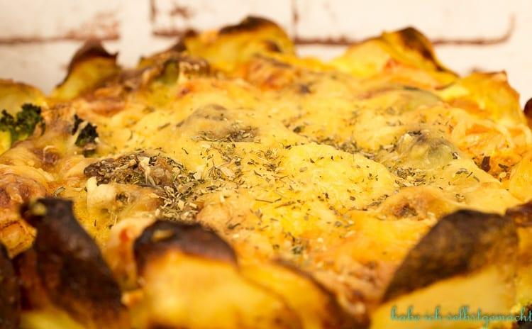 Kartoffel Lachs Quiche mit Brokkoli