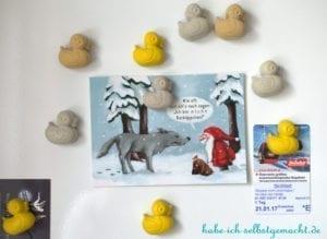 DIY Enten aus Beton als magnetische Pins - Beton Enten an Magnetafel