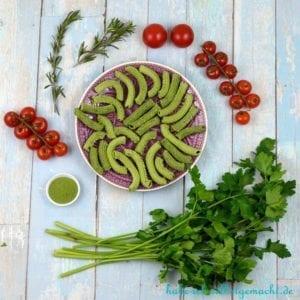 Nudeln Selbermachen - grüne Spinat Penne