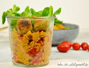 Rote Linsen Salat mit Falafel