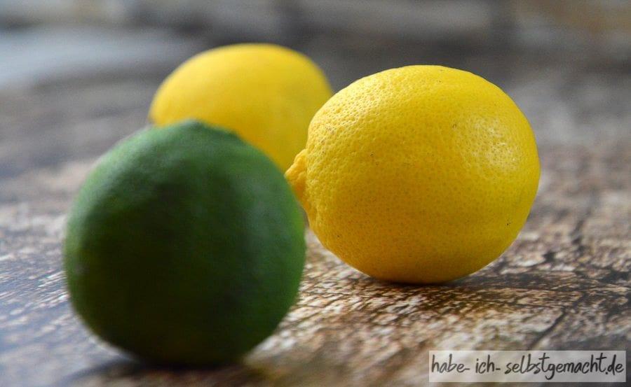 Zitronen und Limetten für Selbstgemachtes Zitronen-Limetten-Öl