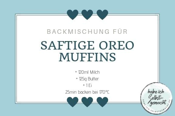Etikett für saftige Oreo Muffins