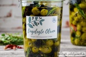 Geschenkidee: Selbst eingelegte Oliven im Glas