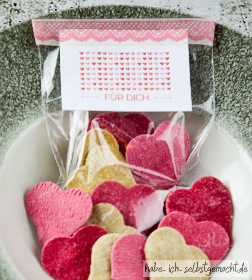 Herz Nudeln als Geschenk