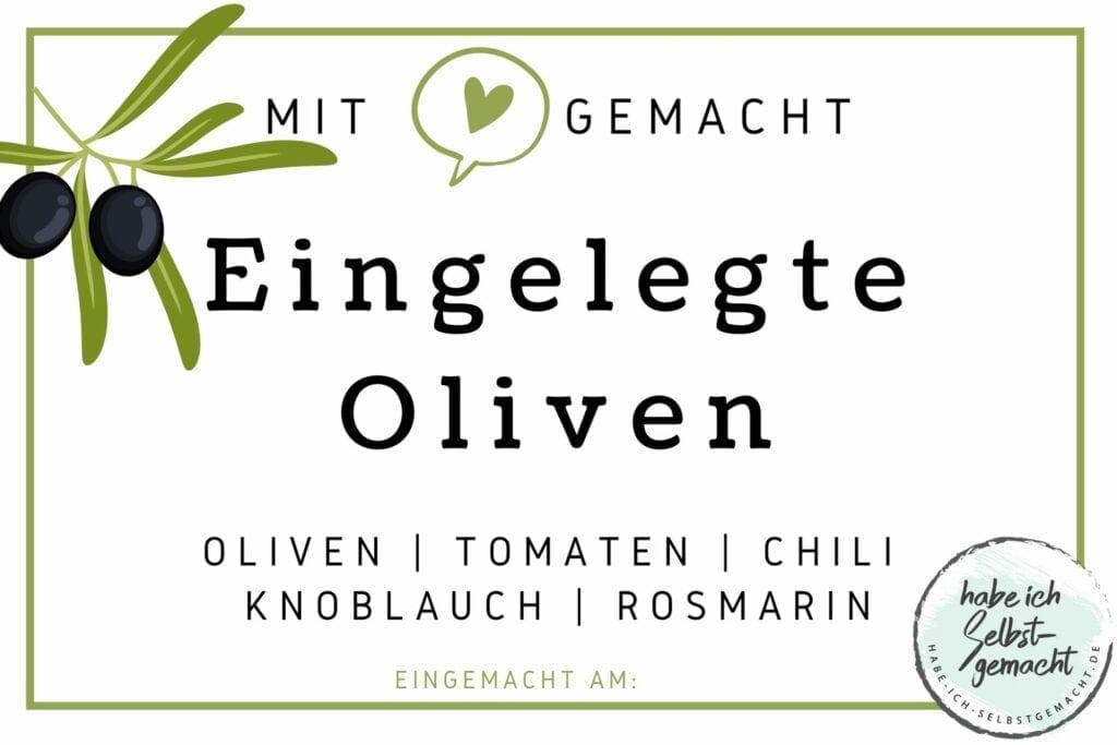 Eingelegte Oliven Etikett