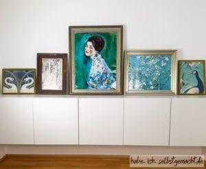 Bilderwand in blau-grün