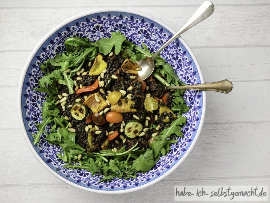 Beluga-Linsen Salat mit Grillgemüse