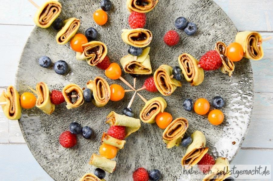 Crêpes Spießchen als Fingerfood