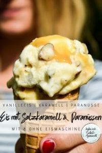 EIs mit Salzkaramell und Paranüssen
