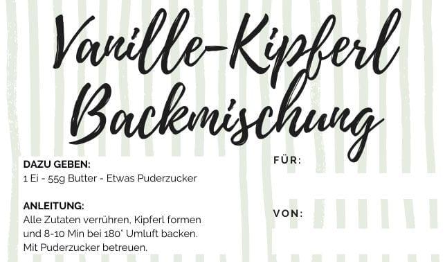 Etikett Vanille Kipferl Backmischung