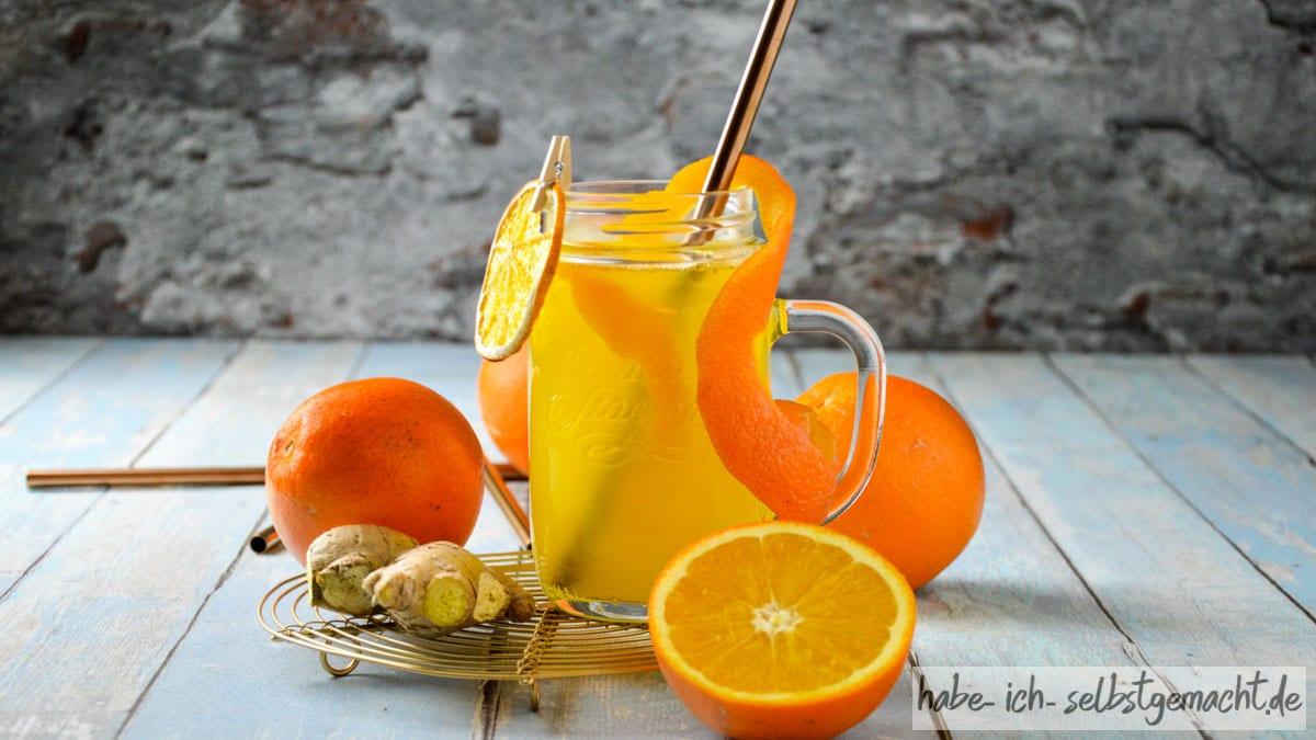 Frischer Ingwer-Orangen Tee