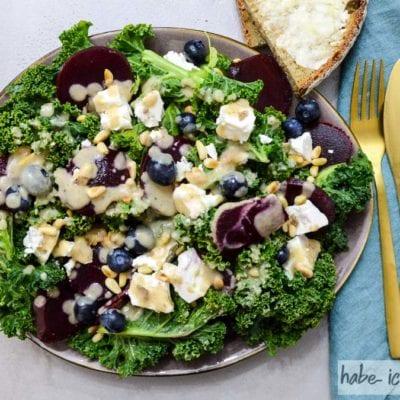 Bunter Wintersalat mit Grünkohl, Rote Beete und Schafskäse