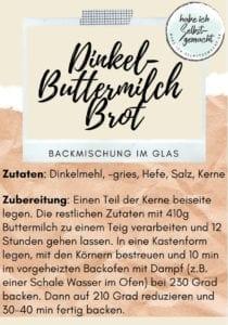 Dinkel Buttermilch Brot Backmischung im Glas - Etikett