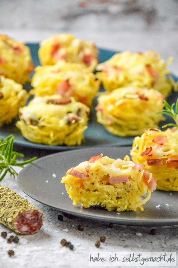 Spaghettinester in der Muffinform