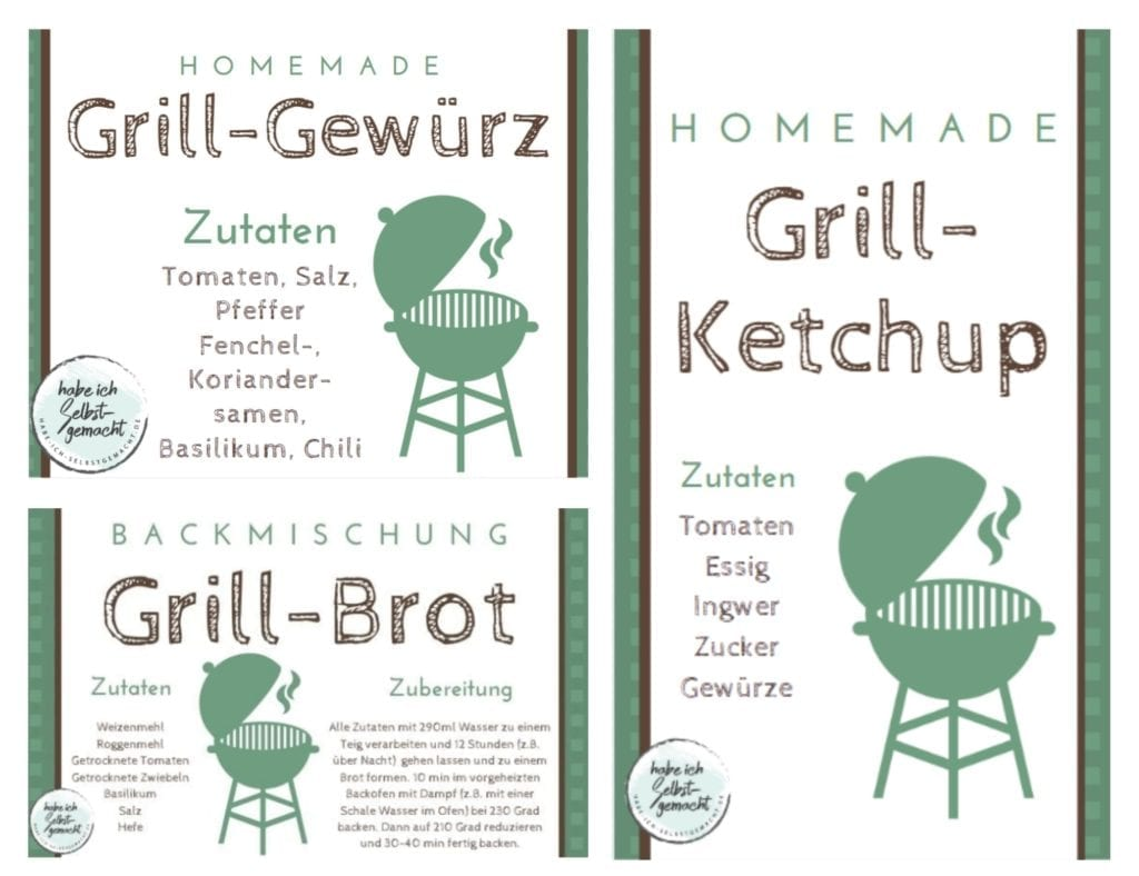 Etiketten DIY Grillpaket