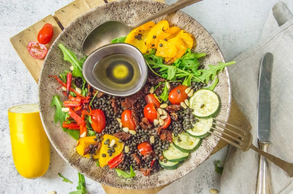 Belungalinsensalat mit Gemüse