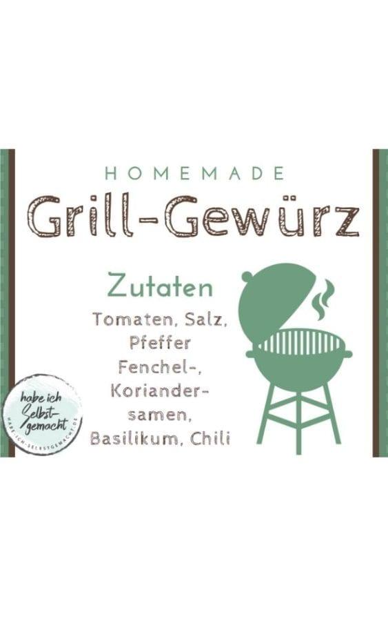 Etikett für Grill Gewürz