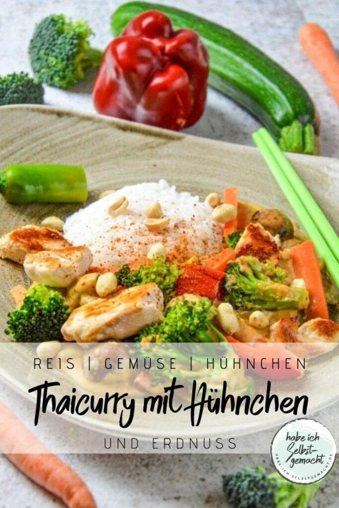 Thaicurry mit Hähnchen und Erdnusssauce
