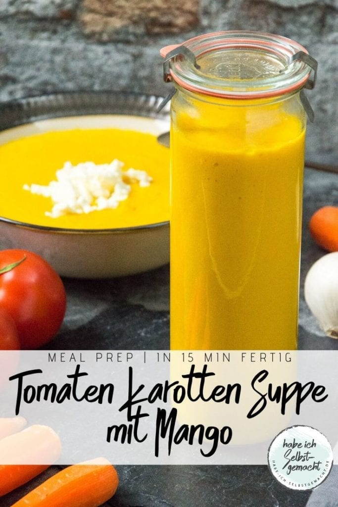 Tomaten Karotten Suppe mit Mango Pinterest Flyer