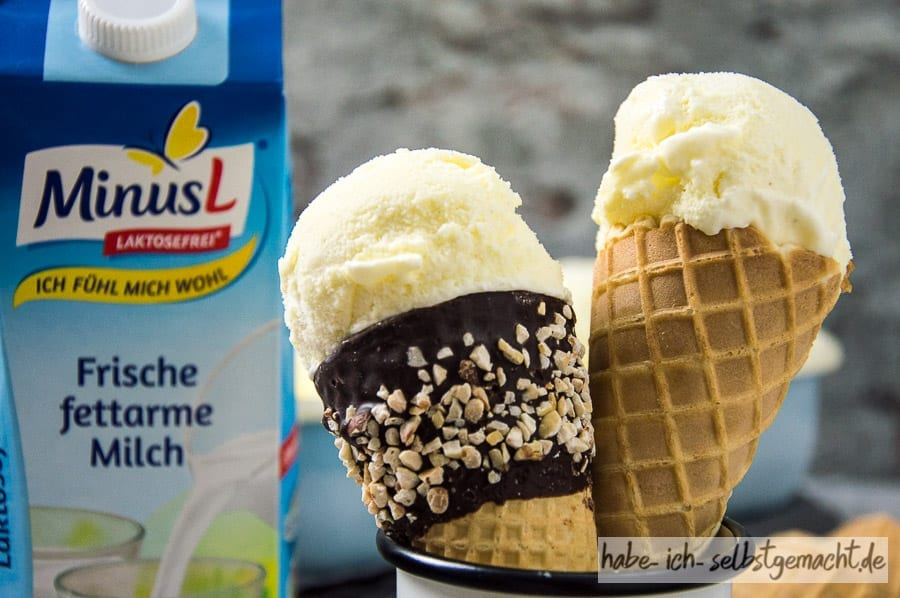 Laktosefreies Vanilleeis mit MinusL