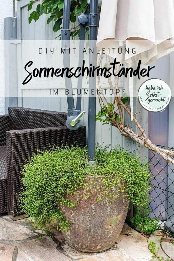 Sonnenschirmständer im Blumentopf Anleitung DIY