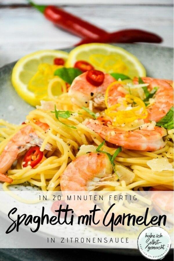 Spaghetti mit Garnelen in Zitronensauce