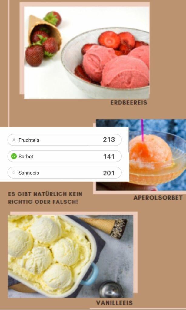 Instagram Umfrage Eisrezept