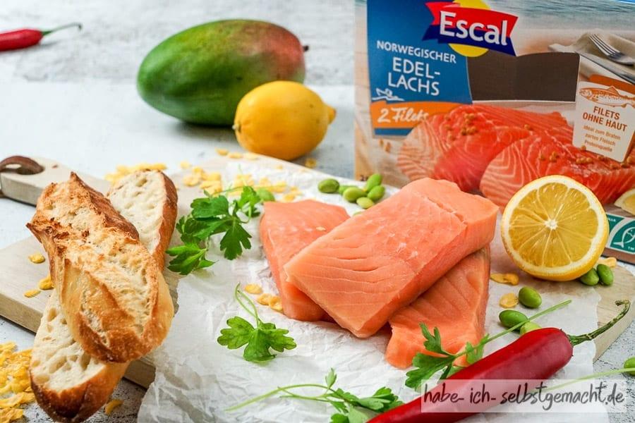Zutaten für selbstgemachte Fischstäbchen
