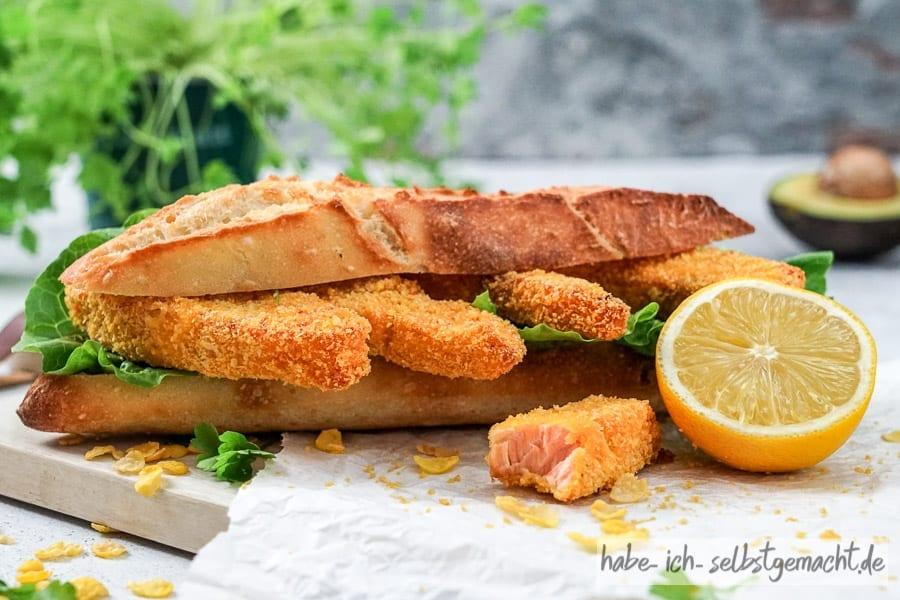 Baguette mit Fischstäbchen