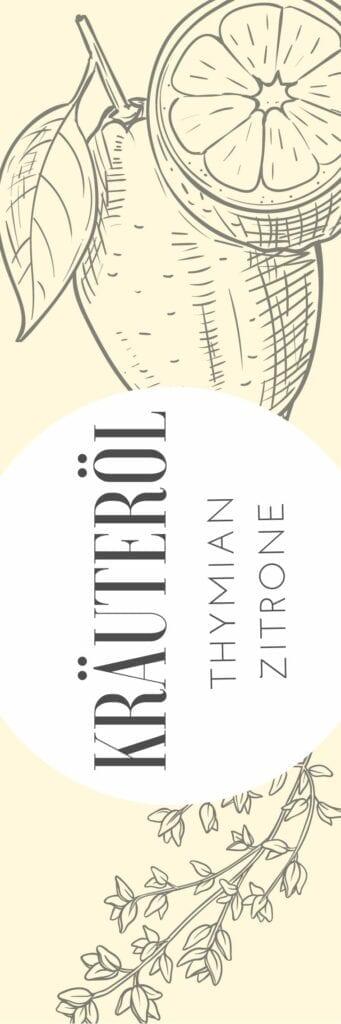 Etikett für Zitrone-Thymian-Öl