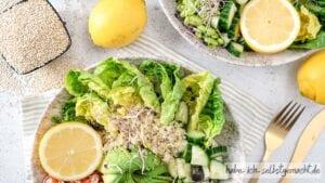 Gesunde Quinoa Kichererbsen Bowl Titelbild