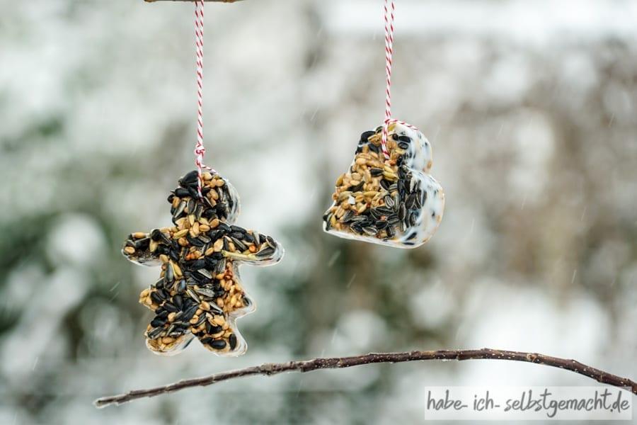 Vogelfutter am Baum für den Winter
