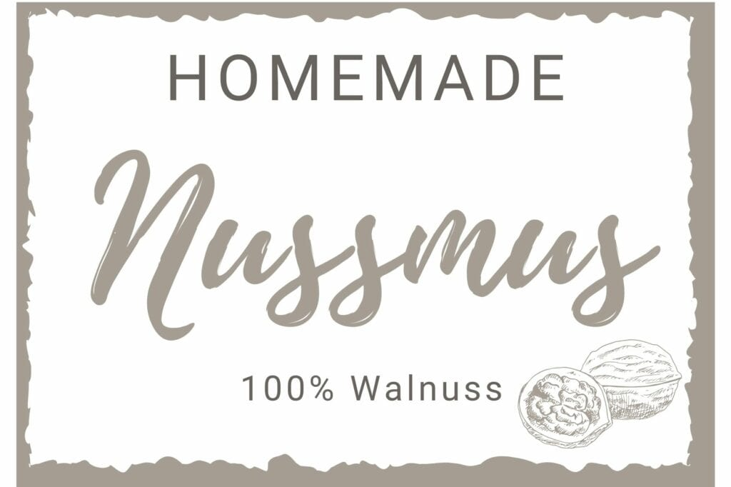 Nussmus Etikett - Walnuss