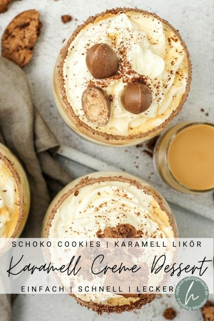 Karamell Creme Dessert mit Schoko Cookies Pinterest Flyer