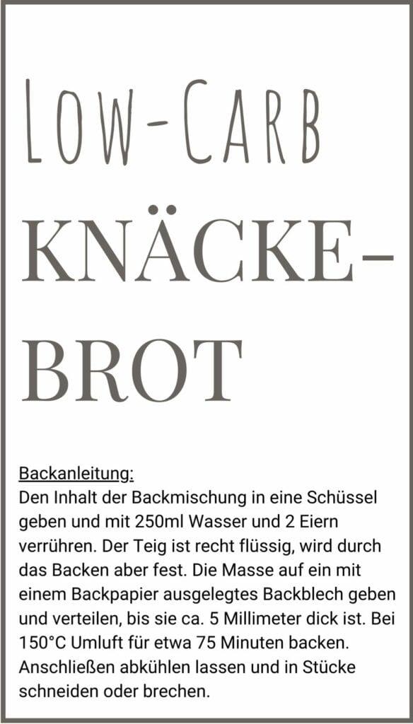 Low Carb Knäckebrot Etikett