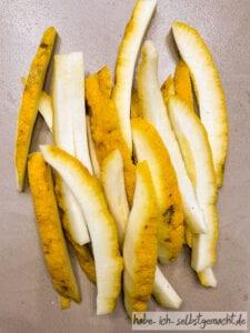 Streifen von der Zitronenschale