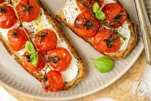 Brotbelag 3 - Gegrillte Tomaten auf Frischkäse