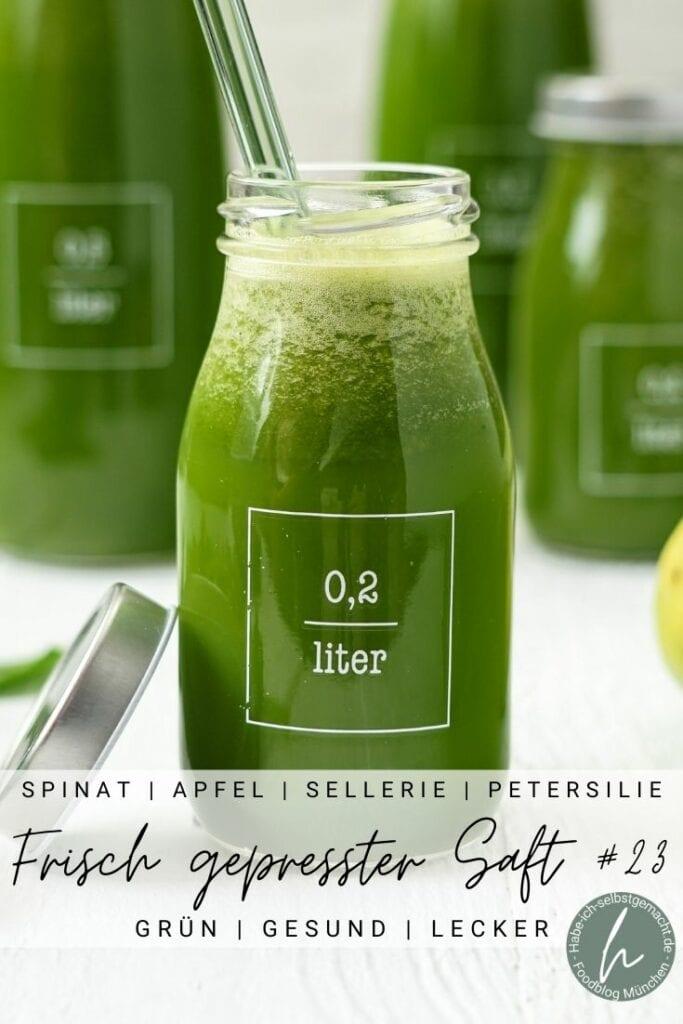 Frisch gepresster Spinat Apfel Sellerie Saft