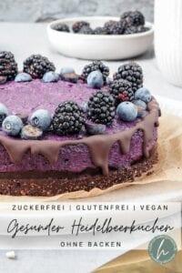Gesunde No Bake Heidelbeertorte