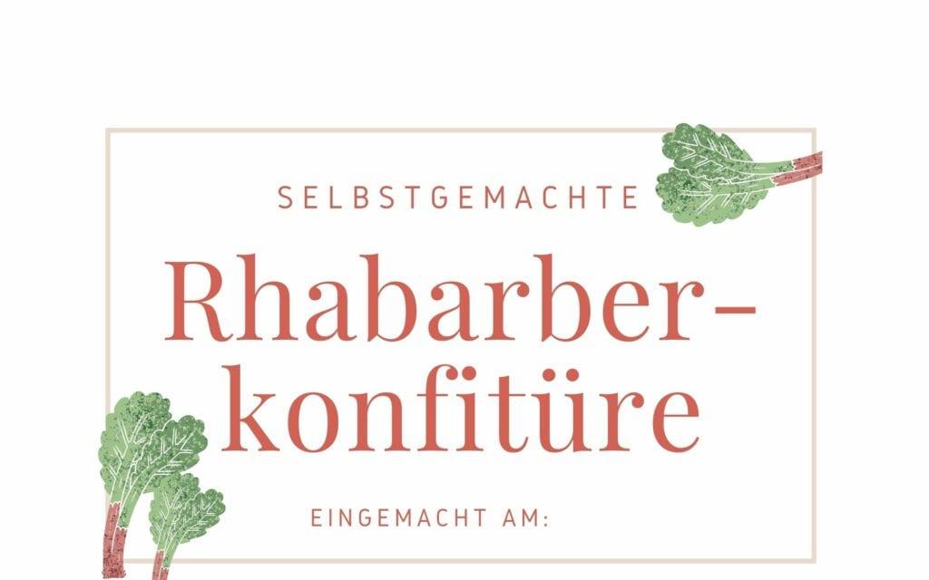Etikett für Rhabarber Marmelade
