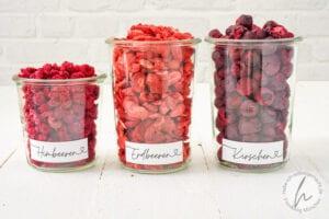 Koro gefriergetrocknete Himbeeren Erdbeeren Kirschen