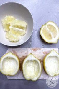 Ausgehöhlte Zitronen