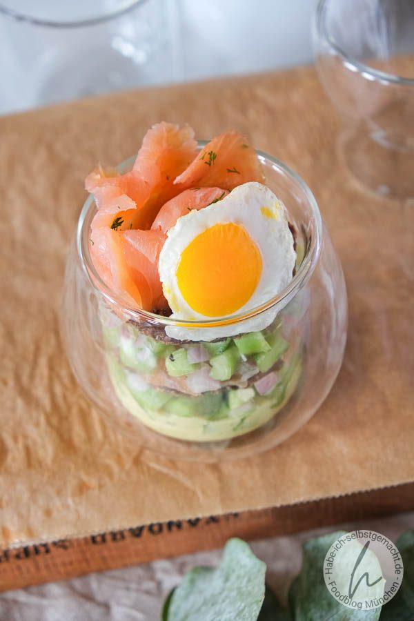 Fisch Sandwich im Glas als Fingerfood oder Vorspeise