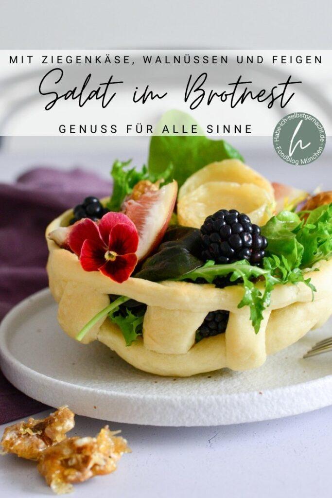 Salat mit Ziegenkäse im Brotnest